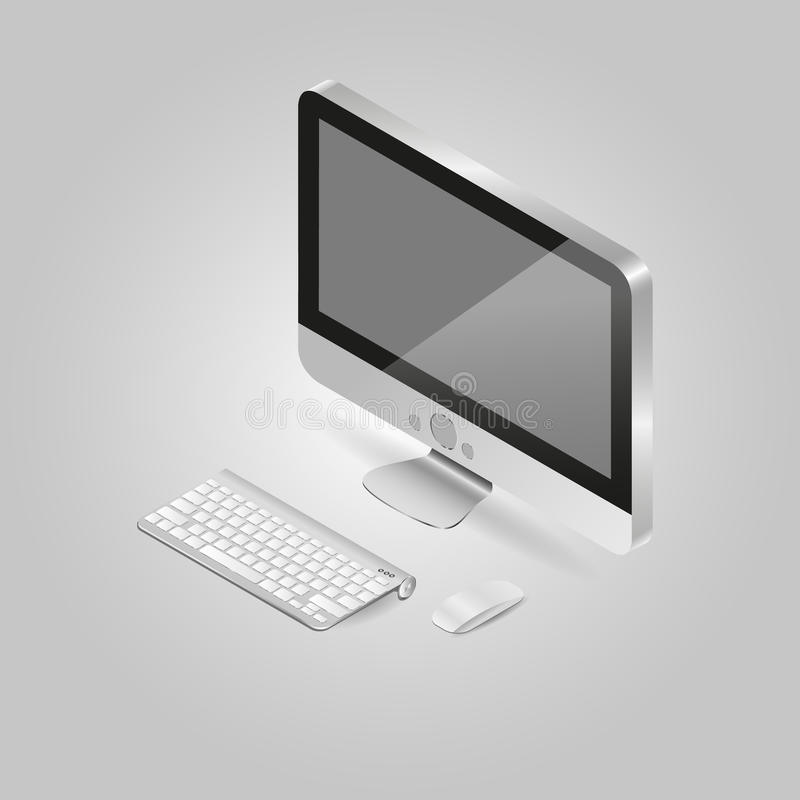 Isometrische Illustration von einem Personal-Computer und stockfoto