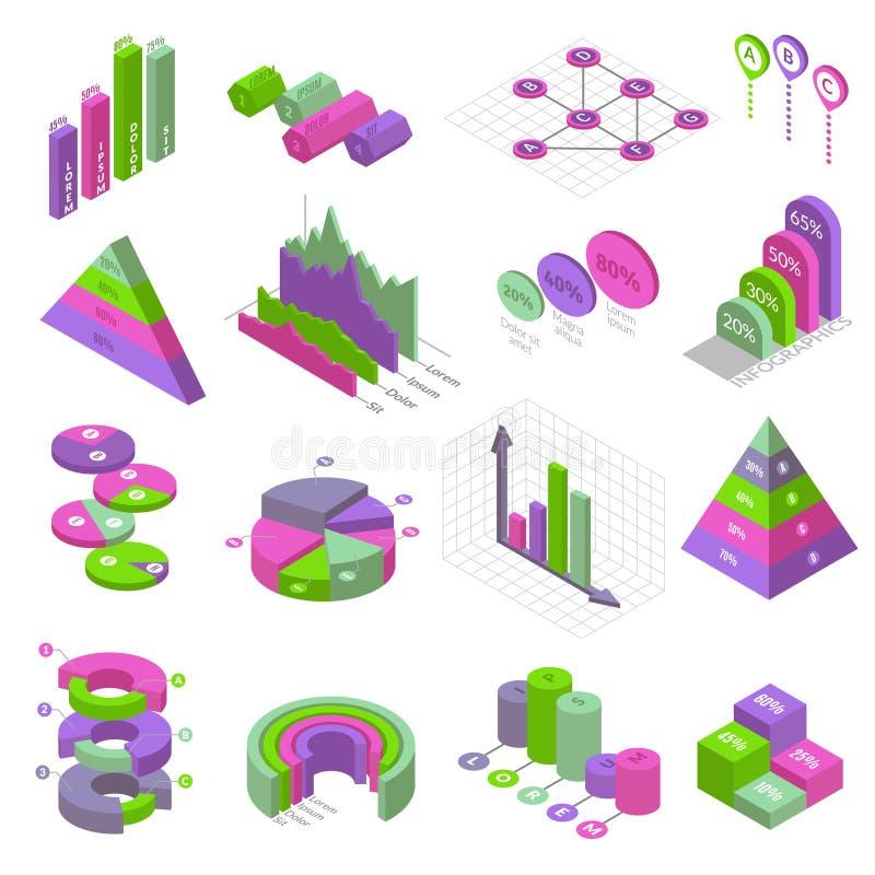 Isometrische infographic geplaatste elementen royalty-vrije illustratie