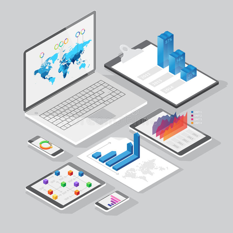 Isometrische infographics Gestaltungselemente stock abbildung