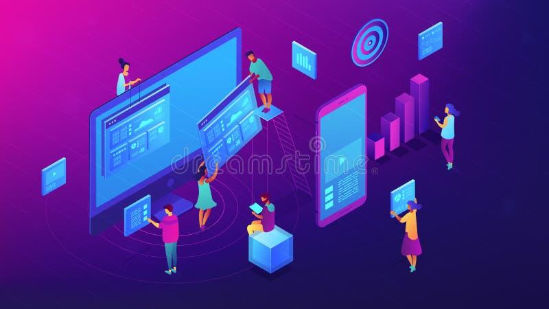 Isometrische inhoud marketing teamillustratie vector illustratie