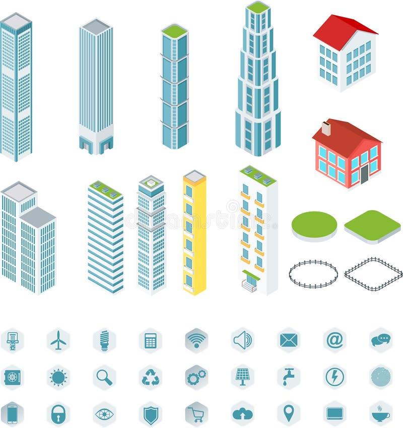 Isometrische Intelligente gebouwen royalty-vrije illustratie