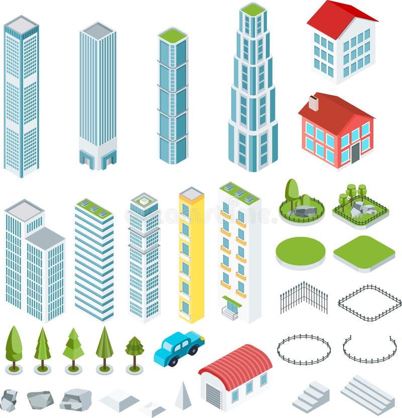 Isometrische Intelligente gebouwen stock illustratie