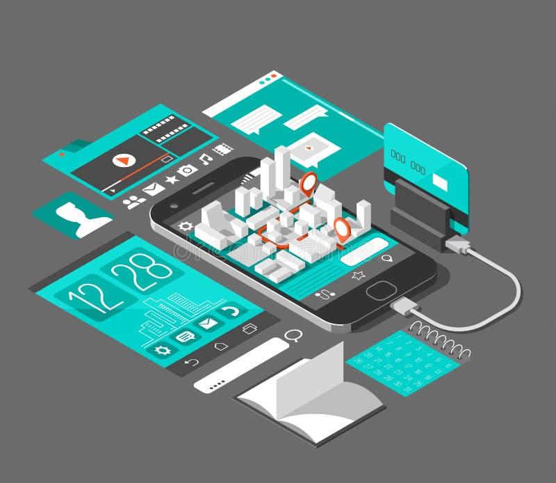 Isometrische intelligente Telefonschnittstelle Schirm mit verschiedenen apps und Ikonen Karte auf beweglicher Anwendung lizenzfreie abbildung