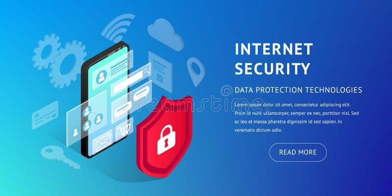 Isometrische Internet-horizontale veiligheidsbanner vector illustratie