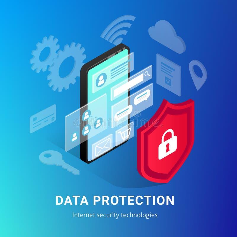 Isometrische Internet-Sicherheit Smartphone-Steigungsfahne stock abbildung