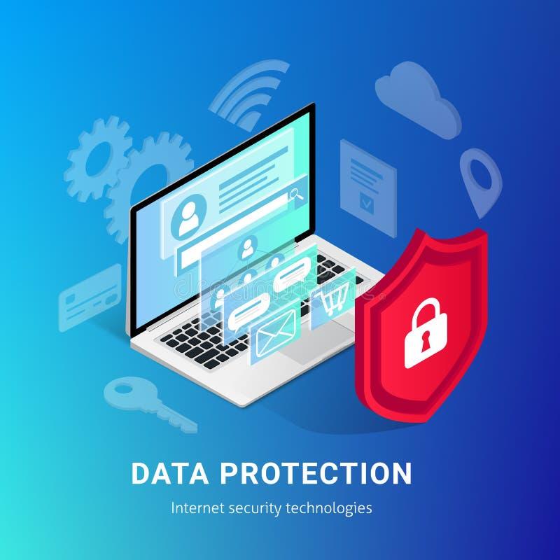 Isometrische Internet-Sicherheitssteigungsfahne lizenzfreie abbildung