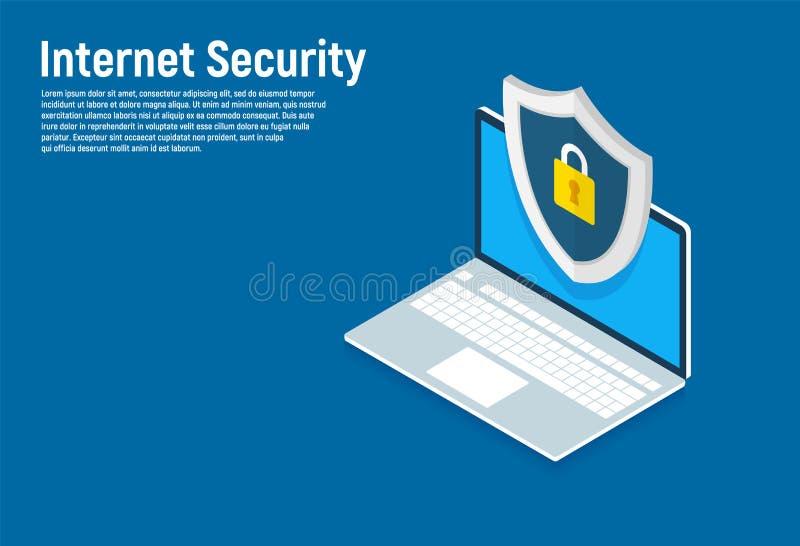 Isometrische Internet-veiligheid, gegevensbescherming, veilige gegevensuitwisseling Creatieve isometrische ontwerpconcepten voor  vector illustratie