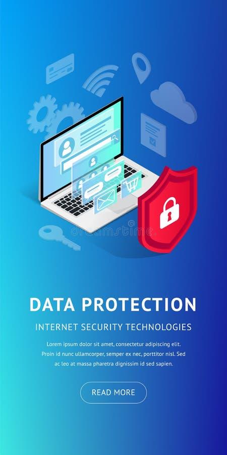 Isometrische Internet-veiligheids verticale banner stock illustratie