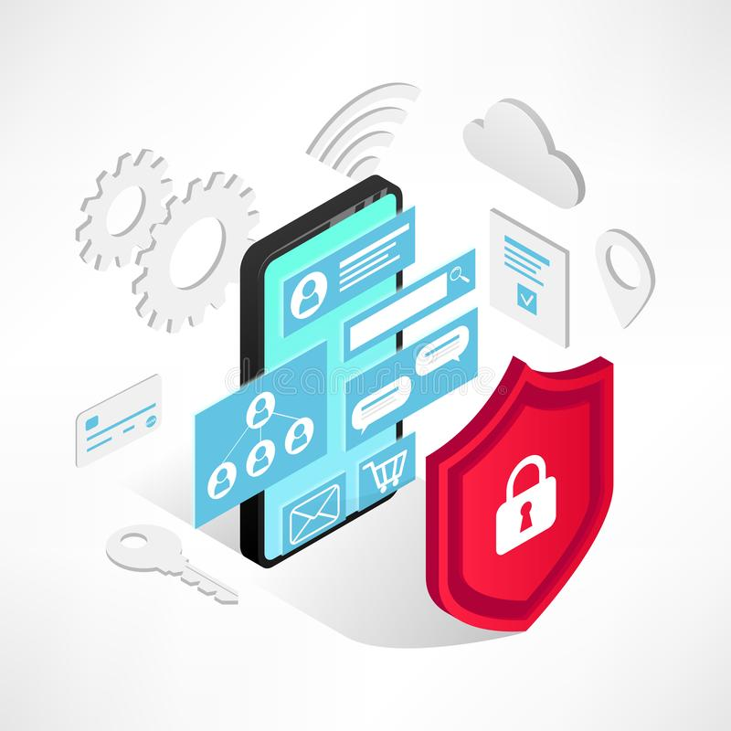 Isometrische Internet-veiligheidssmartphone geïsoleerde pictogrammen stock illustratie
