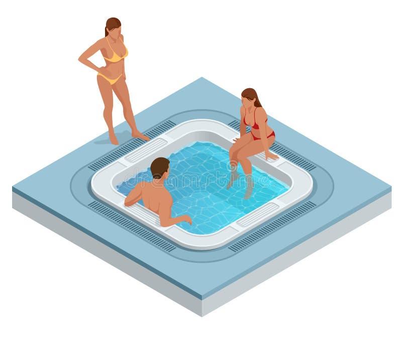 Isometrische Jacuzzi met wervelend die water op wit wordt geïsoleerd Mensen die van Jacuzzi hete tub bath spa genieten vector illustratie
