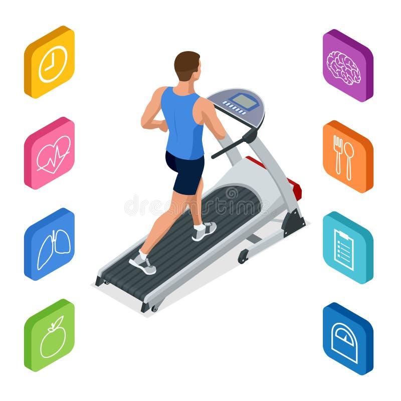 Isometrische jonge mens in sportkleding die op tredmolen bij gymnastiek lopen Geschiktheid en gezondheidspictogrammen Lopend mach vector illustratie