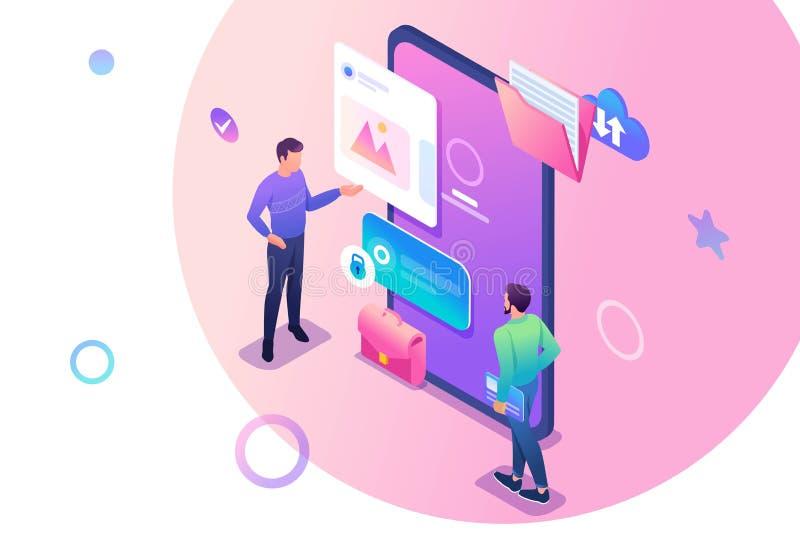 Isometrische jonge mensen die zich dichtbij het mobiele telefoonscherm bevinden, het gebruik van mobiele toepassing Concept voor  royalty-vrije illustratie