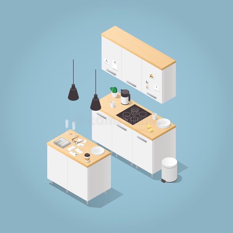 Isometrische Küchen-Illustration vektor abbildung