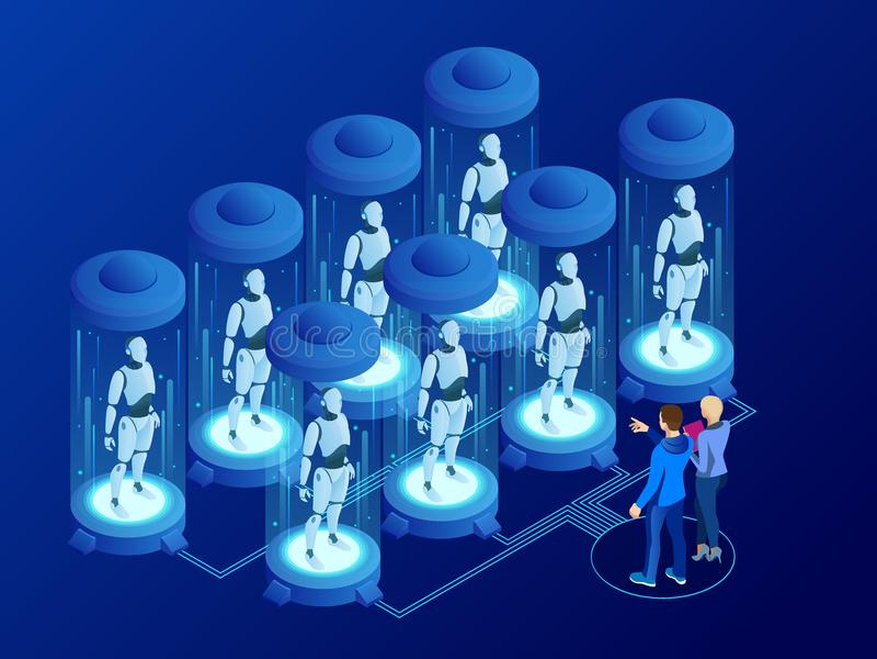 Isometrische künstliche Intelligenz in den Robotern Technologie und Technik Wissenschaftleringenieur entwirft Gehirn, Einstellung lizenzfreie abbildung