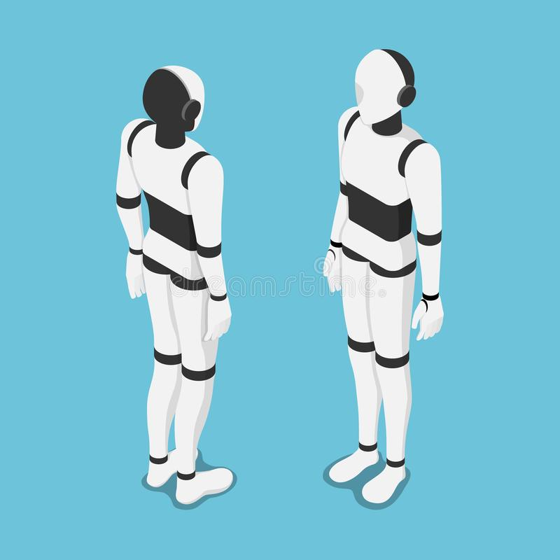 Isometrische künstliche Intelligenz oder ai-Roboterfront und -rückseite lizenzfreie abbildung