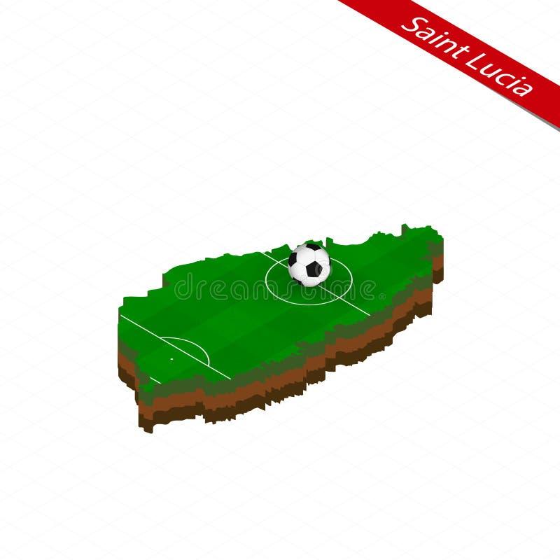 Isometrische kaart van Heilige Lucia met voetbalgebied Voetbalbal in centrum van voetbalhoogte stock illustratie