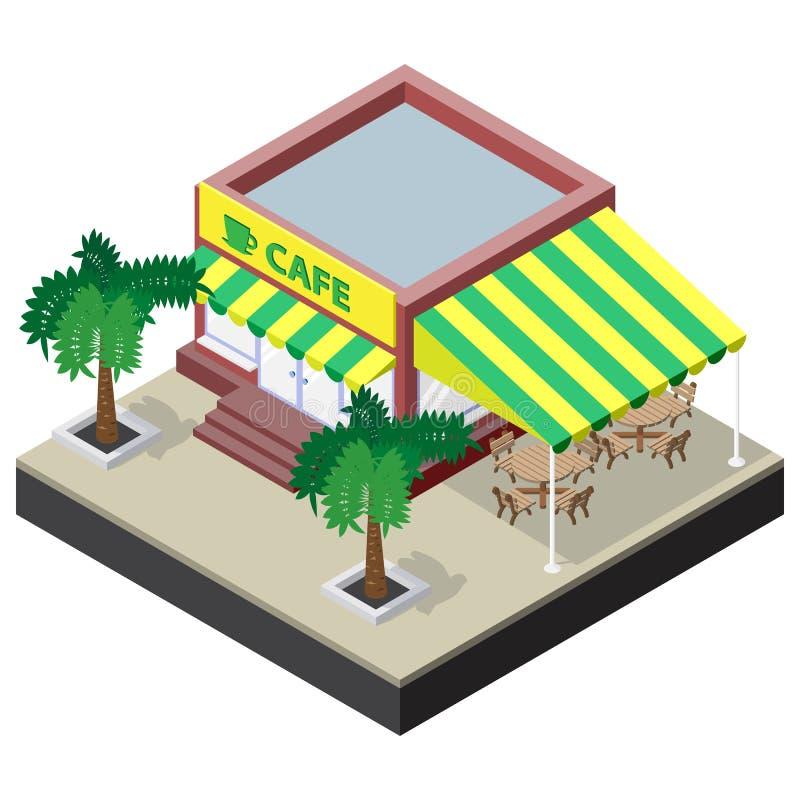 Isometrische Kaffeestube mit Tabellen, Stühlen und Palmen vektor abbildung