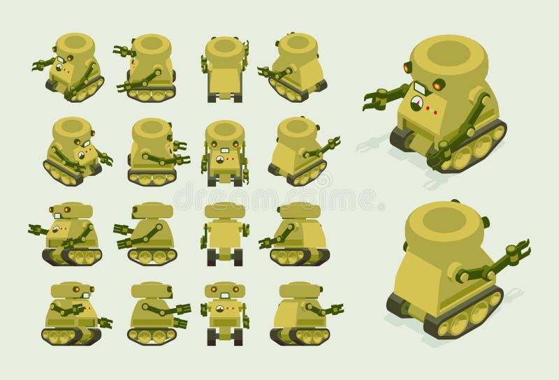 Isometrische kaki militaire robot op kruippakjesporen vector illustratie