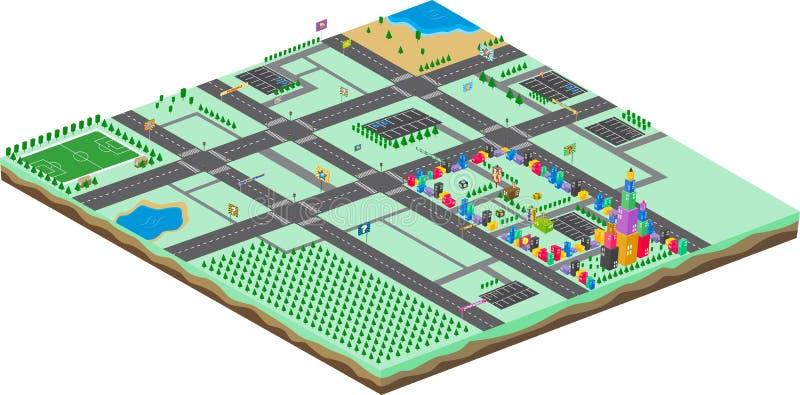 Isometrische Karikaturweltspiel-Anlagegutschablone vektor abbildung