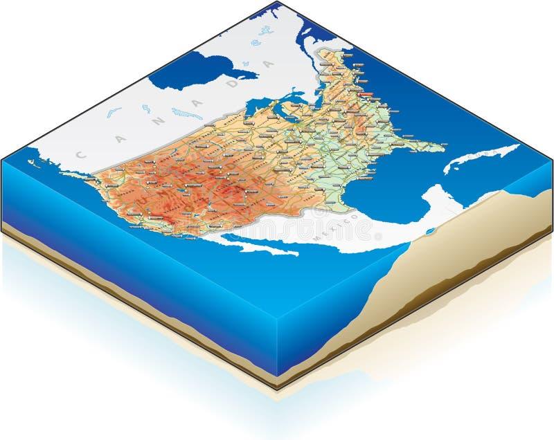 isometrische Karte 3D von vereinigt stock abbildung