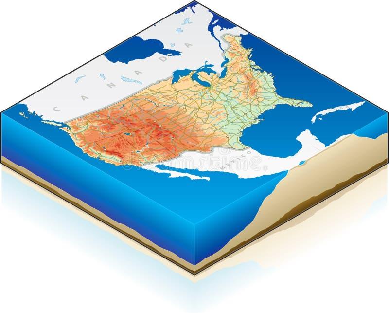 isometrische Karte 3D von vereinigt vektor abbildung