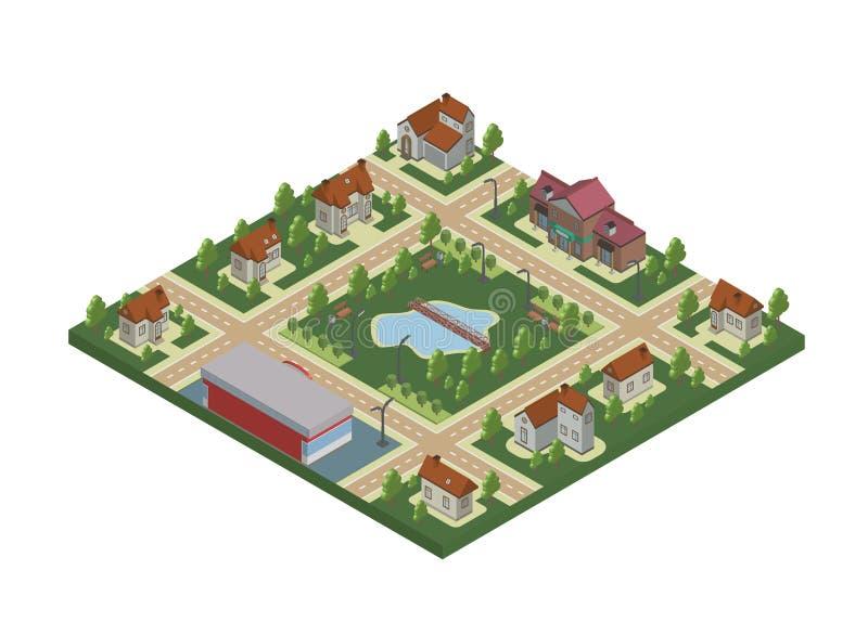 Isometrische Karte der Kleinstadt oder des Häuschendorfs Privathäuser, Bäume und Teich oder See Vektorillustration, an lokalisier lizenzfreie abbildung