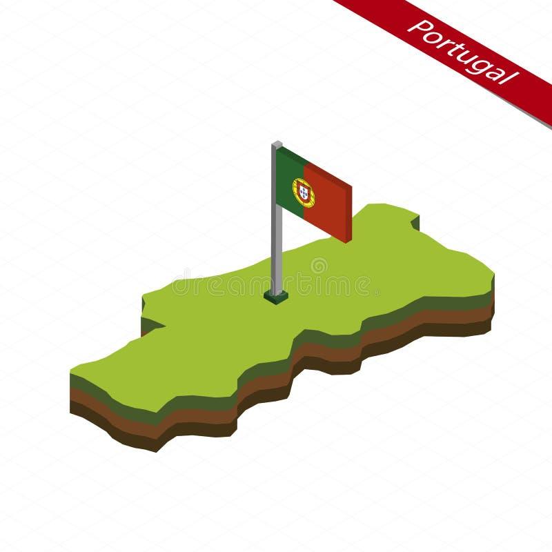 Isometrische Karte und Flagge Portugals Auch im corel abgehobenen Betrag lizenzfreie abbildung
