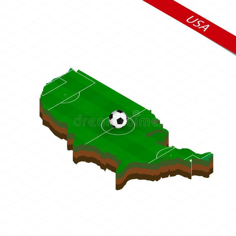 Isometrische Karte von den Vereinigten Staaten von Amerika mit Fußballplatz Fußballball in der Mitte des Fußballplatzes vektor abbildung