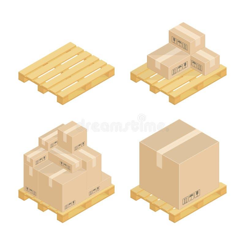 Isometrische kartondozen en pallets vector illustratie