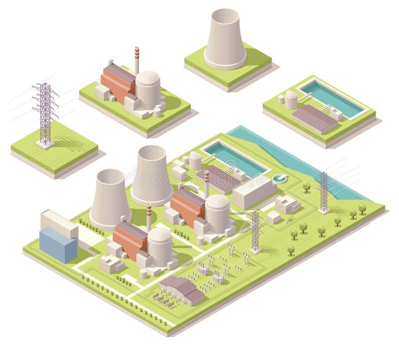 Isometrische kernenergiefaciliteit stock illustratie
