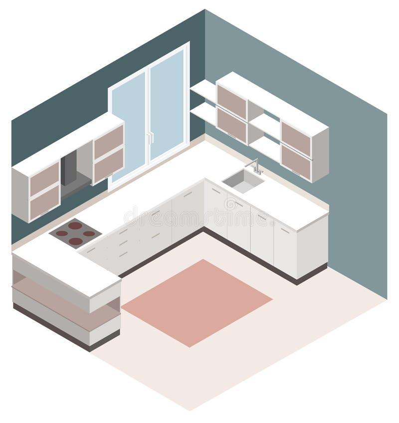 Isometrische keuken Het vector isometrische lage polypictogram van de keukenruimte vector illustratie