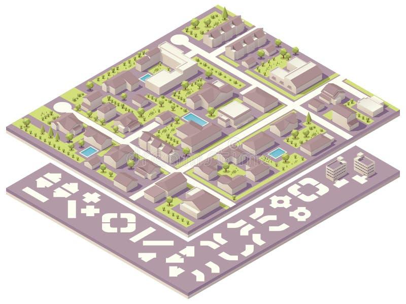 Isometrische Kleinstadtkarten-Schaffungsausrüstung lizenzfreie abbildung