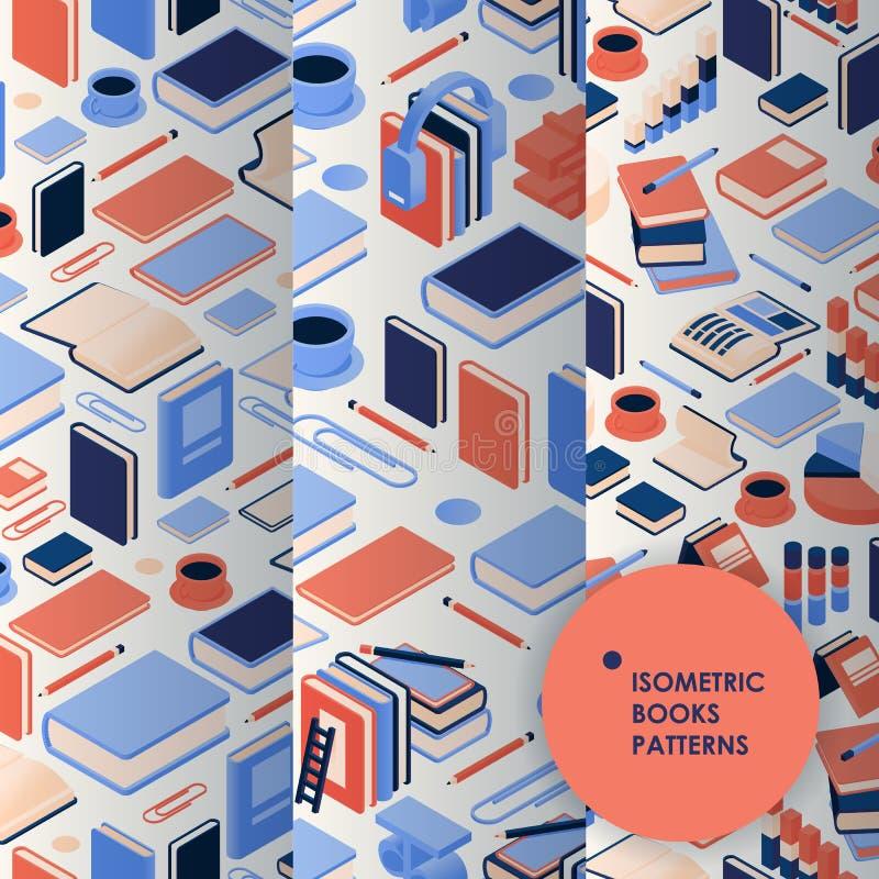 Isometrische Kollektion nahtlose Bildungsmuster mit Büchern, Kaffeetassen und verschiedenen Elementen lizenzfreie stockbilder