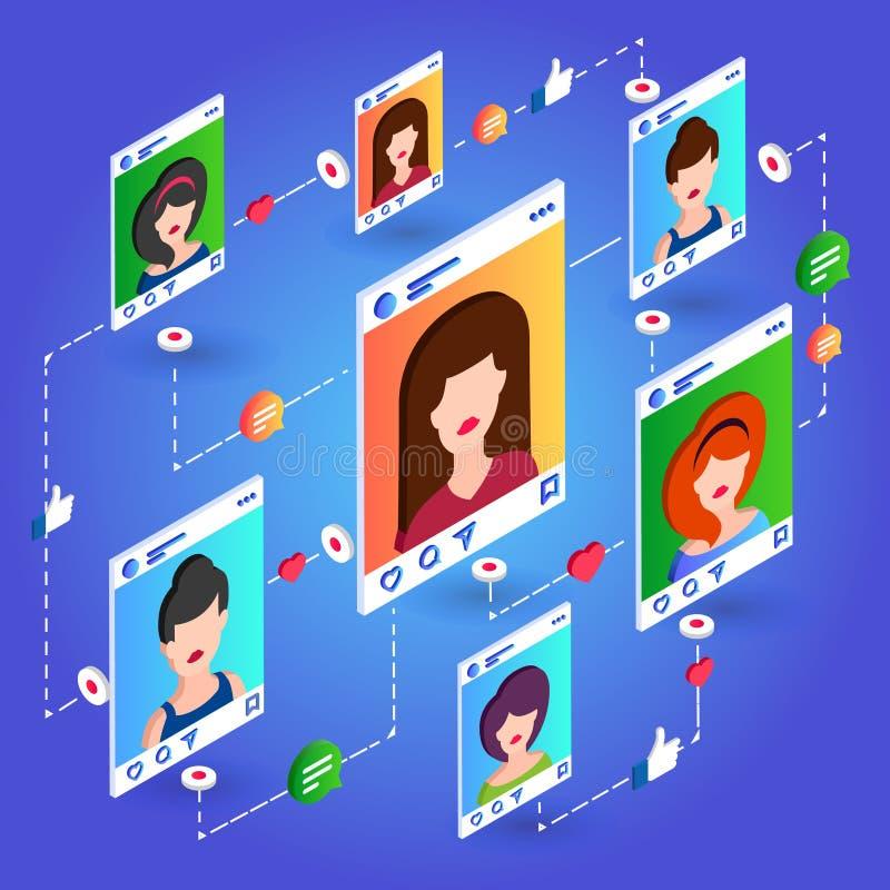 Isometrische Kommunikation des Sozialen Netzes auf blauem Hintergrund lizenzfreie stockfotografie