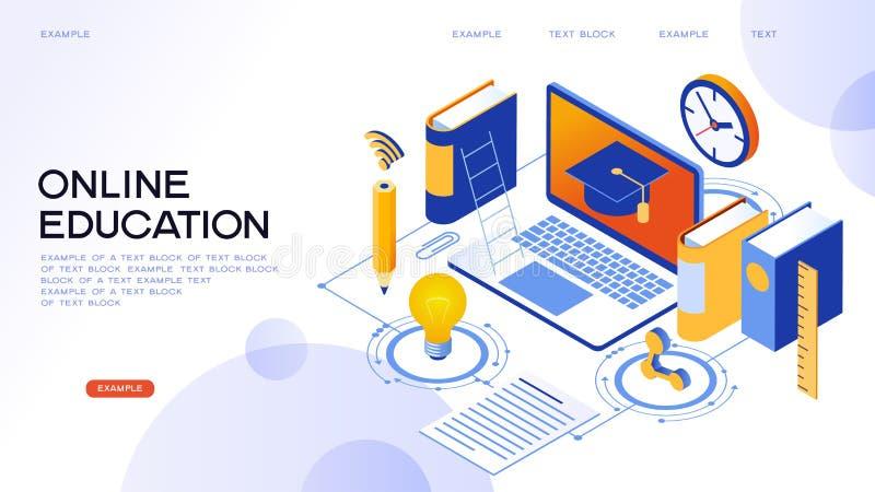 Isometrische Konzeptfahne der on-line-Bildung vektor abbildung
