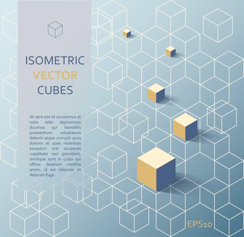 Isometrische kubussenachtergrond royalty-vrije illustratie