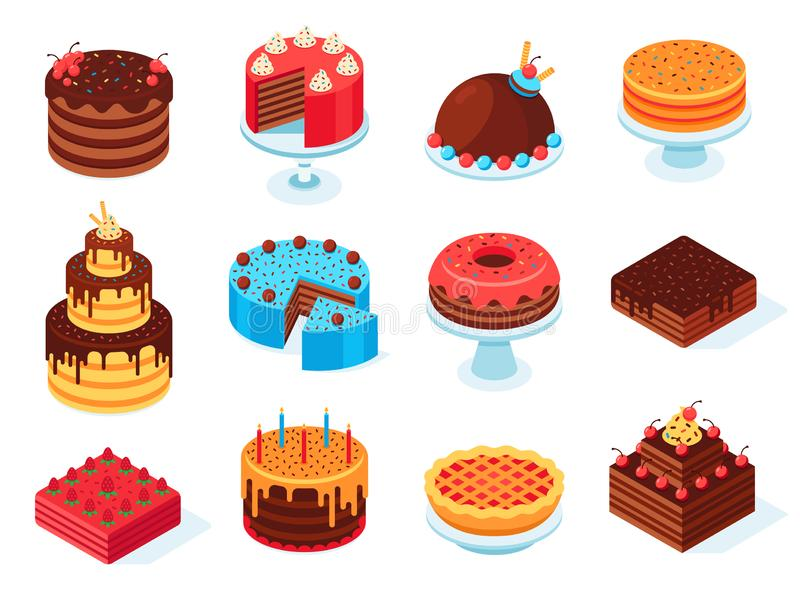 Isometrische Kuchen Schokoladenkuchenscheibe, köstliche geschnittene Geburtstagstorte und geschmackvoller rosa Glasurkuchen lokal lizenzfreie abbildung