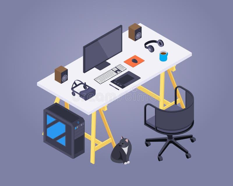 Isometrische kunstenaarswerkplaats stock illustratie