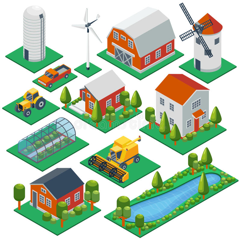 Isometrische ländliche Gebäude und Häuschen Traktor 3d stock abbildung