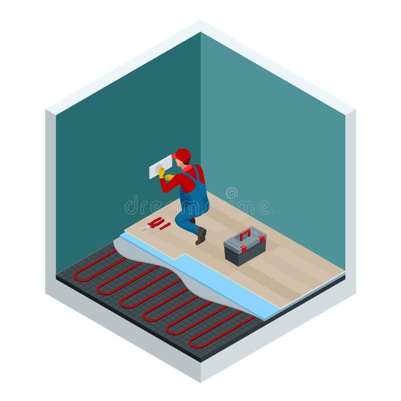 Isometrische lagen van infrarood vloer verwarmingssysteem onder gelamineerd vloerconcept Het Isometrische Malplaatje van de huisr vector illustratie