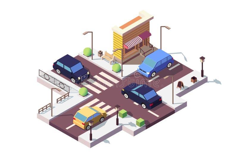 isometrische Landschaft 3d mit Auto auf Straße vektor abbildung