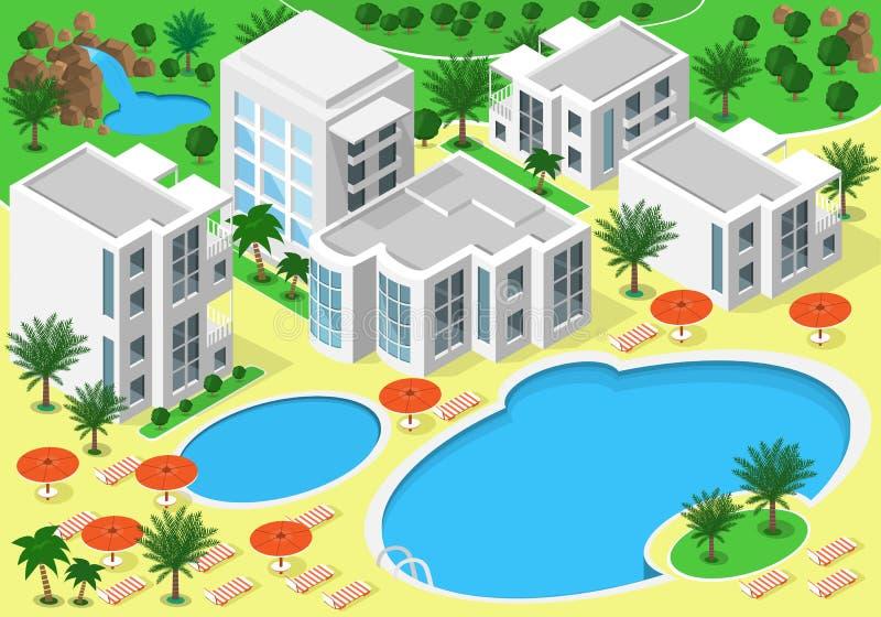 Isometrische Landschaft des strandnahen Luxushotels mit Schwimmbädern für Sommerrest Satz ausführliche Gebäude, Seen, Wasserfall, lizenzfreie abbildung