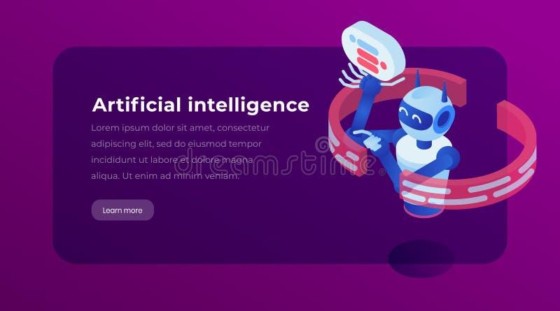 Isometrische Landungsschablonenseite der künstlichen Intelligenz Virtuelles Unterstützung chatbot, Software-Anwendung, Website vektor abbildung