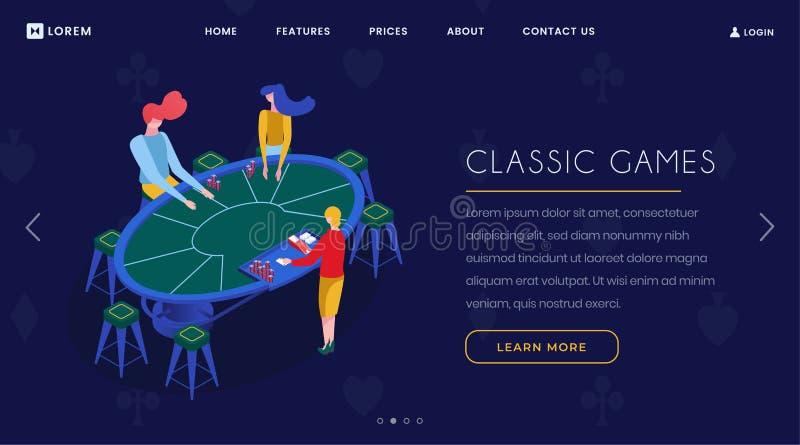 Isometrische Landungsseite der KasinoKartenspiele Spielergruppe, die Blackjack spielen, Croupier und Spieler, die am Schürhakenti vektor abbildung