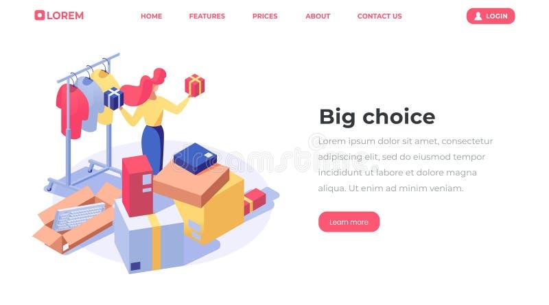 Isometrische Landungsseite der Online-Shop-Wahl Kundenkaufenprodukte, weiblicher Verkäufer, Angebotwaren 3d des Verkäufers stock abbildung