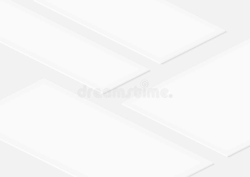 Isometrische leere Rahmenschablone des weißen Vektors für die Einfügung irgendeiner UI-Schnittstelle, Tests oder Geschäftsdarstel lizenzfreie abbildung