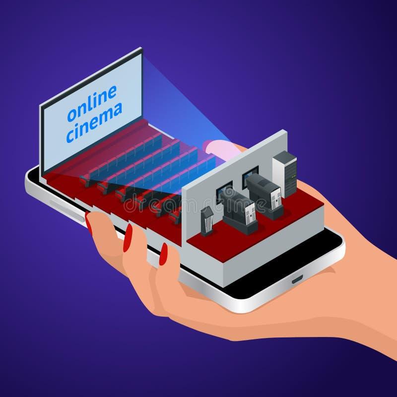 Isometrische levende stroom, videospelerconcept Smartphone-toepassing voor online het kopen en het boeken bioskoopkaartjes of lev stock illustratie