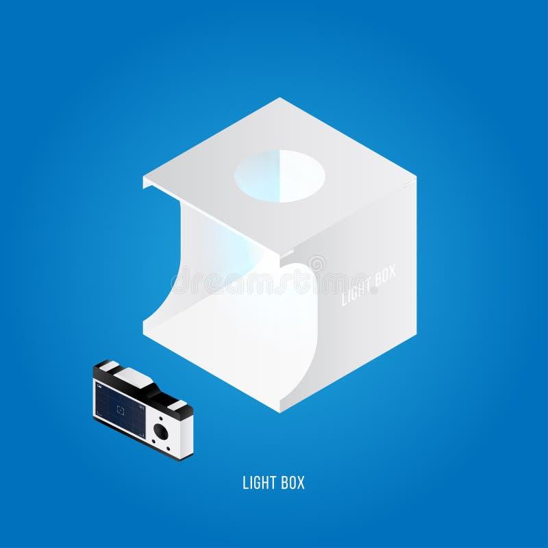 Isometrische lichte doos De studio van de huisfoto met fotocamera op een witte achtergrond Vector illustratie Eps 10 vector illustratie