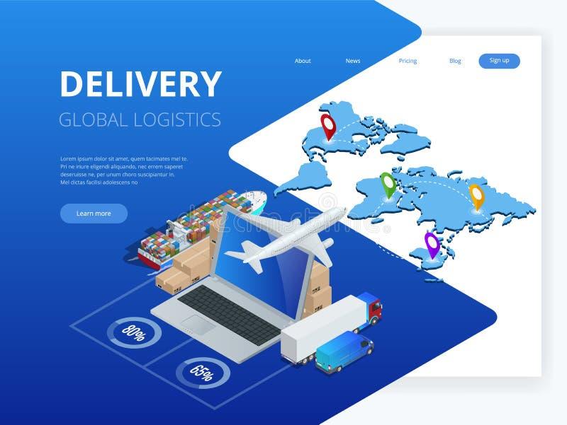 Isometrische Logistiek en Levering Infographics Leveringshuis en bureau Stadslogistiek Pakhuis, vrachtwagen, vorkheftruck stock illustratie