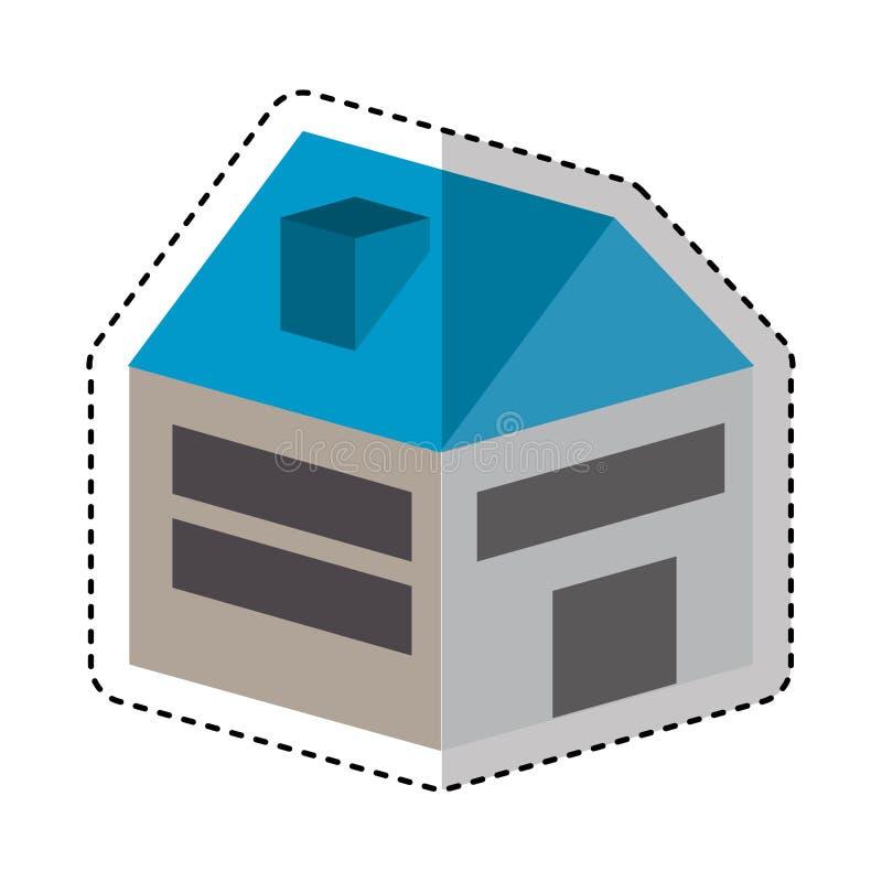 Isometrische lokalisierte Ikone des Hauses vektor abbildung